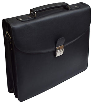 Leather Briefcase for Travel Office Business 15 inch Laptop Messenger Bag Black - wallets for men's at mens wallet