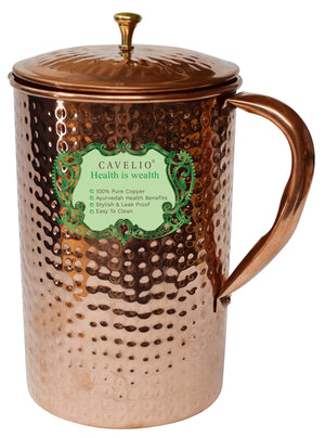 Cavelio Pure Copper Hammer Pitcher Jug With Lid