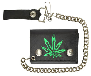 Men's Genuine Leather Marijuana Leaf Trifold Wallet/Chain Biker Trucker Motorcycle
