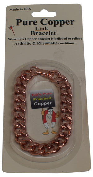 Deluxe Solid Copper Heavy Mens Chain Link Bracelet