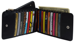 Wallet for Women RFID Blocking Genuine Leather Multi Card Organizer with Zipper Pocket