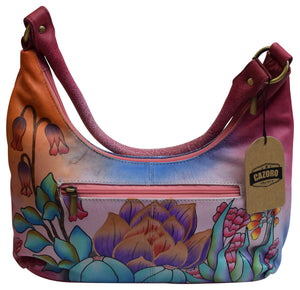 Large Ladies Leather Shoulder Bag Spring Garden Hand painted Purse for Women