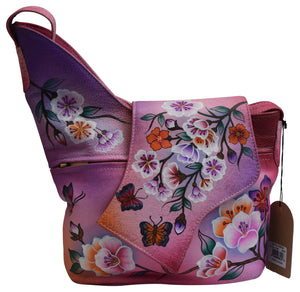 Women's Handpainted Roses Design Leather Shoulder Bag Purse for Ladies