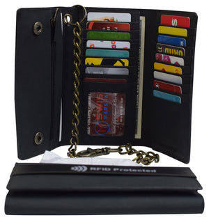 RFID Blocking Mens Tri-fold Long Style Krazy Horse Leather Steel Chain Wallet