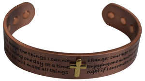 Copper Bracelet Cross Christian Adjustable W/ 6 Powerful Magnet for Joint Pain Relief & Arthritis