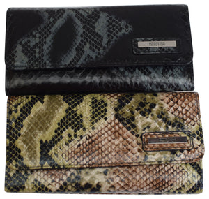 "Kenneth Cole Reaction Trifold Clutch Snake Imprinting ""Tri-Ed & True"""