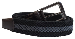Large Elastic Fabric Woven Stretch Black Braided Belt With Gunmetal Buckle - menswallet