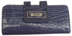 Kenneth Cole Reaction Women's Fashion Clutch Ladies Crocodile Blue Wallet