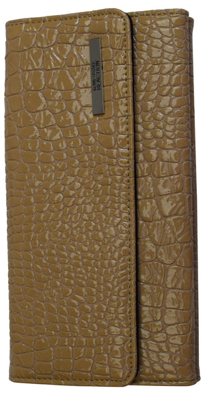 "Womens Kenneth Cole Reaction Trifold Clutch Croco Beige ""Tri-Ed & True"" Wallet"