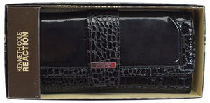 Kenneth Cole Reaction Womens Black Croco Fashion Elongated Clutch Trifold Wallet