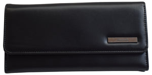 "Kenneth Cole Reaction Trifold Clutch Plain Black ""Tri-Ed & True"" Wallet"