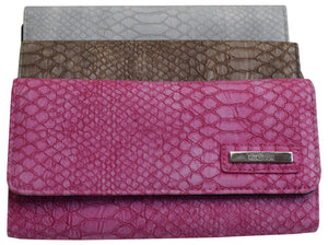 "Kenneth Cole Reaction Trifold Plain Snake Clutch""Tri-Ed & True""Womens Wallet"