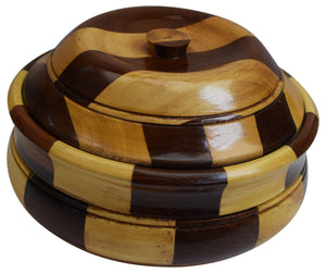 "Wooden Casserole with Stainless Steel Pot and Lid for Food, Hot Case Food Container 10"" x 6"""