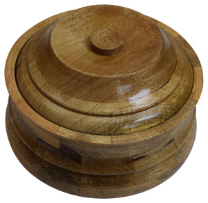 "10"" x 6"" Plain Wooden Casserole with Stainless Steel Pot and Lid for Food, Wood Carved Hot Case Food Container, - menswallet"