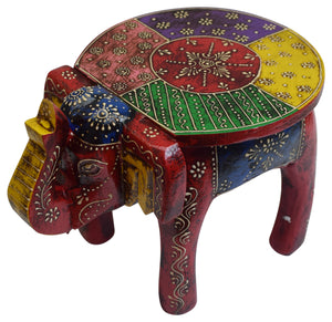 Colorful Wooden Elephant Stool Wood Footstool Gift