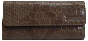 Kenneth Cole Reaction Ladies Elongated Clutch Croco Trifold Women's Wallet - wallets for men's at mens wallet