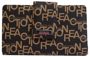 Kenneth Cole Reaction Womens Mirror Utility Tab Clutch Signature Wallet