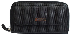 Kenneth Cole Reaction Womens Black Texture Napa Zip-Around Urban Organizer Wallet