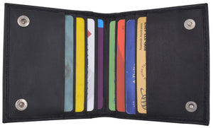 Bifold Credit Card Holder with Snap Button Closure Genuine Leather 80W (C) - wallets for men's at mens wallet