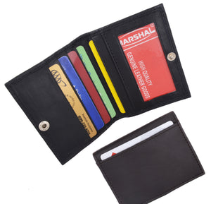 Slim Leather Lamb Card ID Mini Wallet Holder Bifold 78 - menswallet
