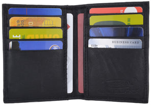 Bifold Lamb Leather Credit Card Holder Wallet with Outside ID Window & Zippered Pocket 76
