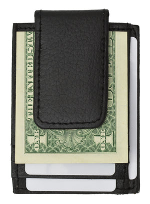 Genuine leather magnetic money clip with credit card and ID holder
