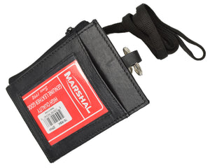 LEATHER ID CARD Badge Holder Neck Pouch Ring Wallet with strap 761 R (C)