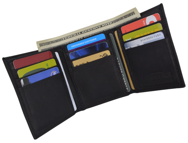 Premium Genuine Leather Bifold Wallet with Side Flap ID Window P 92 (C)