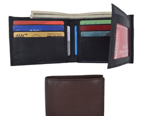 Mens Bifold Flap Out ID Windows Genuine Leather Wallet 1192 - wallets for men's at mens wallet