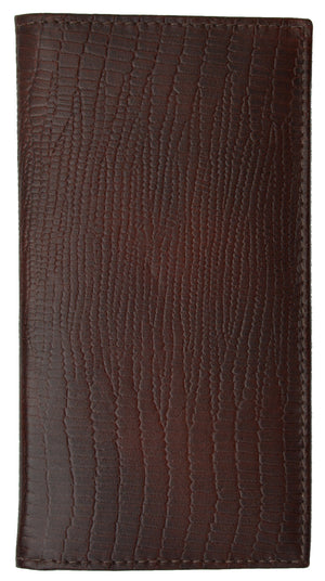 Reptile Brown Leather Checkbook Cover