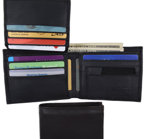 Lamb Leather Flap Up ID Card Holder W/Zippered Compartment Bifold Wallet 3053 - wallets for men's at mens wallet
