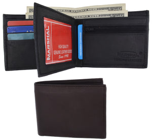 Bifold Leather Wallet W/ Middle ID Flap 3052 - wallets for men's at mens wallet