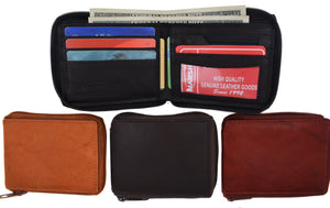 Marshal Genuine Leather Men Zipper Credit Card Holder Removable ID Bifold Wallet