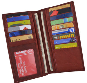 New Men's Leather Long Wallet Pockets ID Card Clutch Bifold Purse Marshal