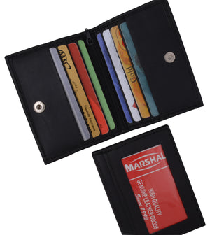 Genuine Leather Small Business Credit Card ID Holder Wallet with Snap Closure 75 - menswallet
