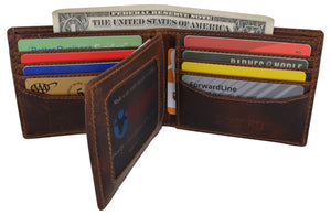 Mens RFID Blocking Crazy Horse Credit Card ID Bifold Wallet by Cazoro