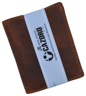 Brand New Cazoro RFID Bifold Trifold Hybrid Mens Distress Vintage Leather Wallet
