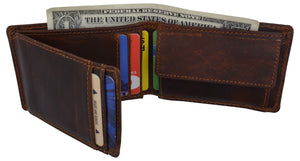 Mens Small Bifold Crazy Horse Leather Slim Card Holder Wallet With Coin Pouch