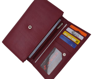 Women RFID Blocking Real Leather Wallet - Clutch Checkbook Wallet for Women