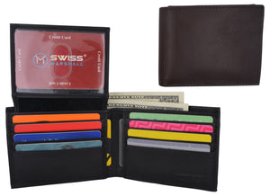 Swiss Marshall RFID Premium Leather Men's Bifold Flap ID Card Holder Wallet