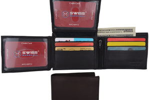 New Swiss Marshall Bifold Men's RFID Premium Leather Card ID Holder Wallet - wallets for men's at mens wallet
