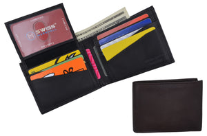 Swiss Marshall Mens Leather Bifold RFID Blocking Removable Card ID Holder Wallet