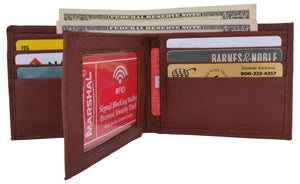Mens RFID Blocking Leather Center Flap Bifold Compact Card ID Wallet