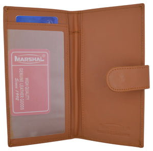Genuine Leather Tan Basic Checkbook Holder with Snap Closure - menswallet