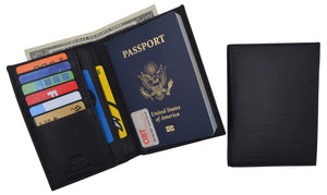 RFID Blocking Leather Passport Holder Wallet Cover Case Travel For Men and Women - wallets for men's at mens wallet