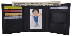 Genuine Leather Kids Slim Compact ID and Coin Pocket Trifold Boys Black Wallet - wallets for men's at mens wallet