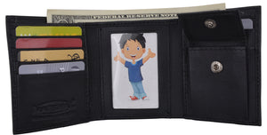 Genuine Leather Kids Slim Compact ID and Coin Pocket Trifold Boys Black Wallet