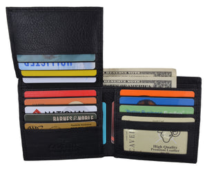 Men's Black Hipster Genuine Leather Multi-Card ID Bifold Euro Wallet - wallets for men's at mens wallet