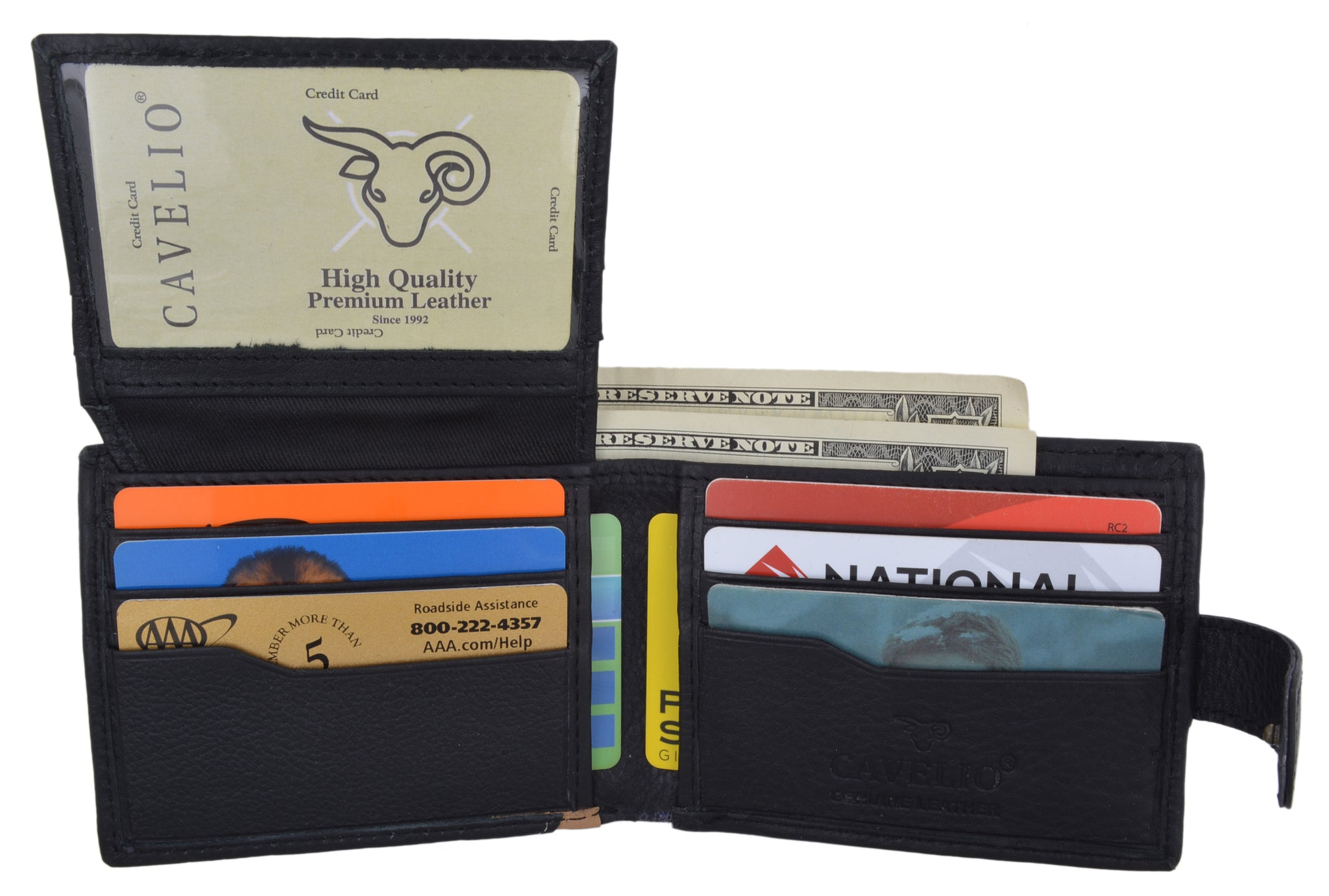 Black Genuine Men/'s Leather Wallet Purse with Credit Card Slot ID Window *SALE*