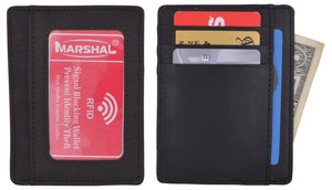 Genuine Leather Slim Card Holder Wallets For Men - Minimalist RFID Blocking Marshal